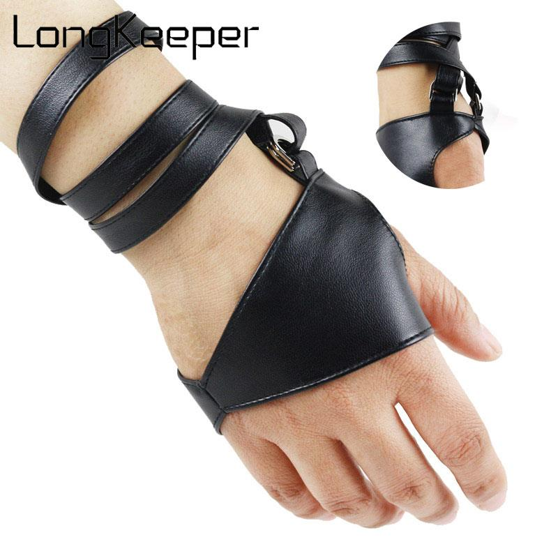 LongKeeper Fashion Women PU Leather Fingerless Gloves Palm Belt Up Half Finger Gloves Female Cool Punk Dancing Mittens Luvas