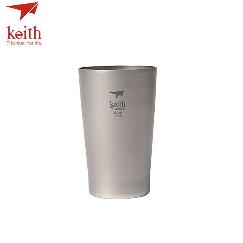 Keith Double Wall Titanium Beer Mugs Insulation Drinkware Outdoor Camping Coffee Cups Ultralight Travel Mug 320ml  98g Ti9221 keith ti3342 450ml titanium double wall cups coffee mugs with lid