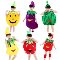 Kids Unisex Halloween Fruit Outfit Costume Stage Performance Strawberry Watermelon Fancy Dress