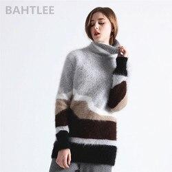 BAHTLEE зимняя Женская водолазка из ангоры, вязаный пуловер, джемпер, свитер с дырками, дизайн с длинными рукавами, сохраняющий тепло, свободный