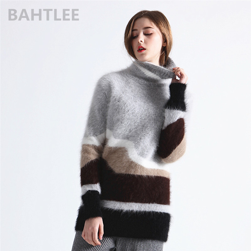 BAHTLEE Winter Women's Angora Turtleneck Knitted Pullovers Jumper Sweater Hole Design Long Sleeves Keep Warm Looser