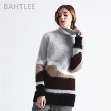 BAHTLEE Winter Women's Angora Turtleneck Knitted Pullovers Jumper Sweater Hole Design Long sleeves Keep Warm Looser white long sleeves jumper colorful tassel design