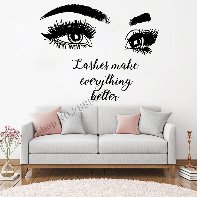 Beautiful Big Eye Eyelashes Wall Stickers Make Up Quotes Beauty