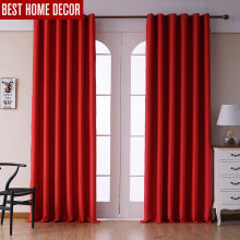 Modern blackout curtains for living room bedroom curtains for window treatment drapes red finished blackout curtains 1 panel(China)