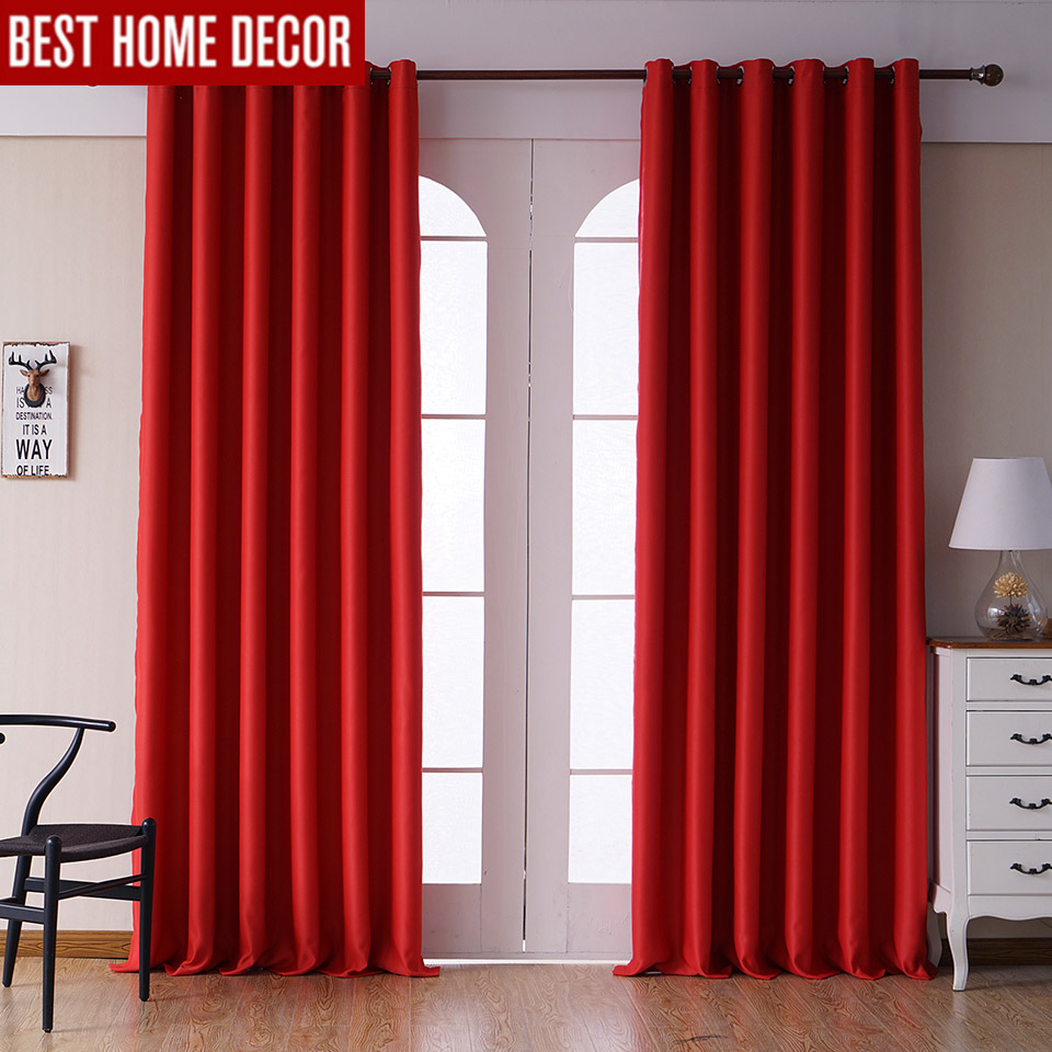 Modern Blackout Curtains For Living Room Bedroom Curtains For Window  Treatment Drapes Red Finished Blackout Curtains