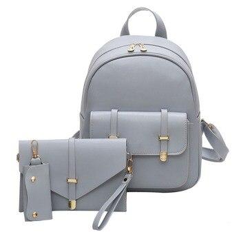e070abe3e682 3 шт., женский рюкзак из искусственной кожи, школьная сумка, сумка на плечо