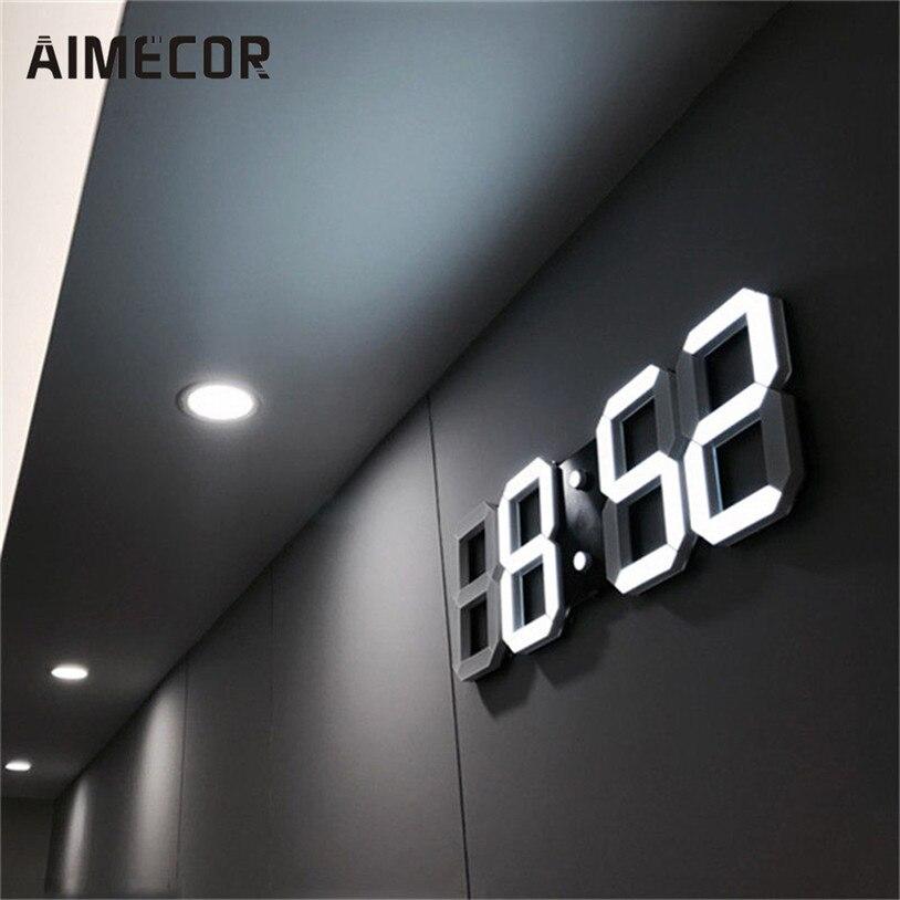 Modern Digital LED Table Desk Night Wall <font><b>Clock</b></font> Alarm <font><b>clocks</b></font> 24 or 12 Hour Display u70815