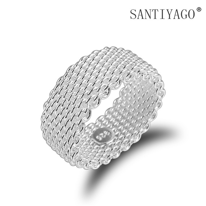 M&W JEWELRY fashion ring plating silver mesh ring Hot Male / for female accessories Jewelry