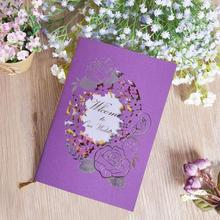 30pcs/lot Creative Invitation Purple Hollow Flower Wedding Invitations Cards Elegant Birthday Party Invitation Blank Inside Page creative party wedding birthday business invitations blank inside page with bowknot souvenir for guests 25pcs lot