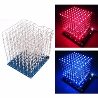 3D Squared DIY Kit 8x8x8 3mm LED Cube White LED Blue Red Light PCB Board Wholesale
