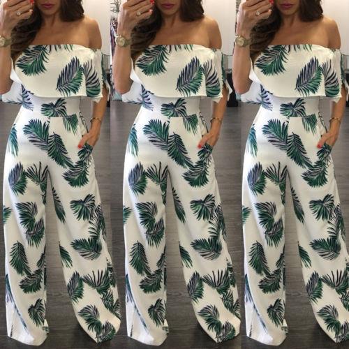 Women Summer Loose Beach Clubwear Playsuit Print Off shoulder Long   Jumpsuit   Romper Trousers