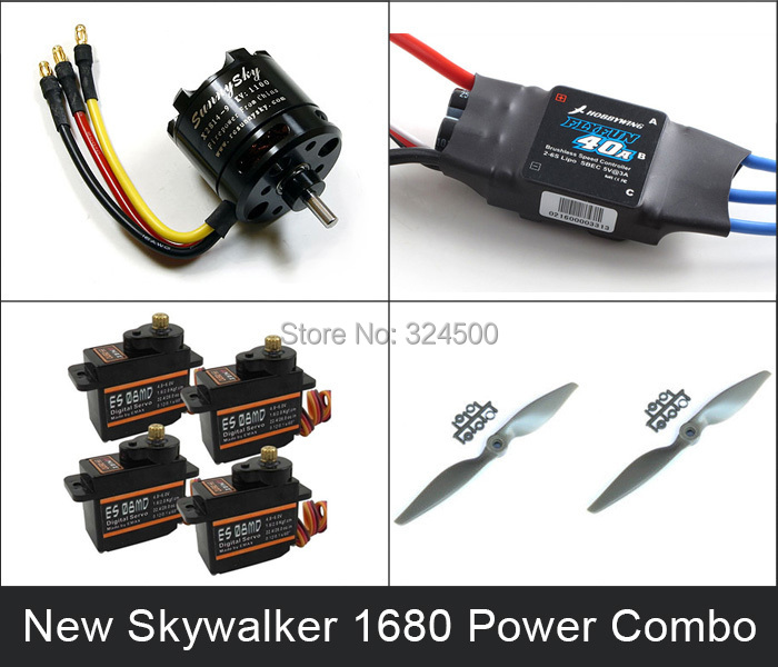 New Power Combo For SKYWALEKR 1680 EPO /Skywalker 1880 Condor (X2814 motor 40A esc ES08MD servos and 9060 prop kit) Propeller RC skywalker x8 x7 flying wing power combo motor esc props and servos kit sunnysky 2820 kv920 flyfun 60a propeller md933 rc plane