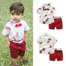 Летняя одежда для маленьких мальчиков футболка с короткими рукавами и цветочным принтом+ короткие штаны деловой костюм джентльмена из 2 предметов