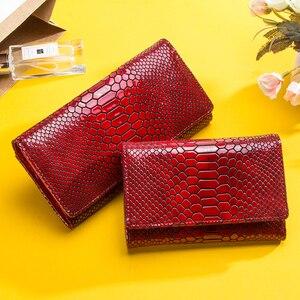 Image 2 - Contact en cuir véritable portefeuille femmes longue pochette moraillon femme porte monnaie rfid porte carte portefeuilles pour femmes portfel damski