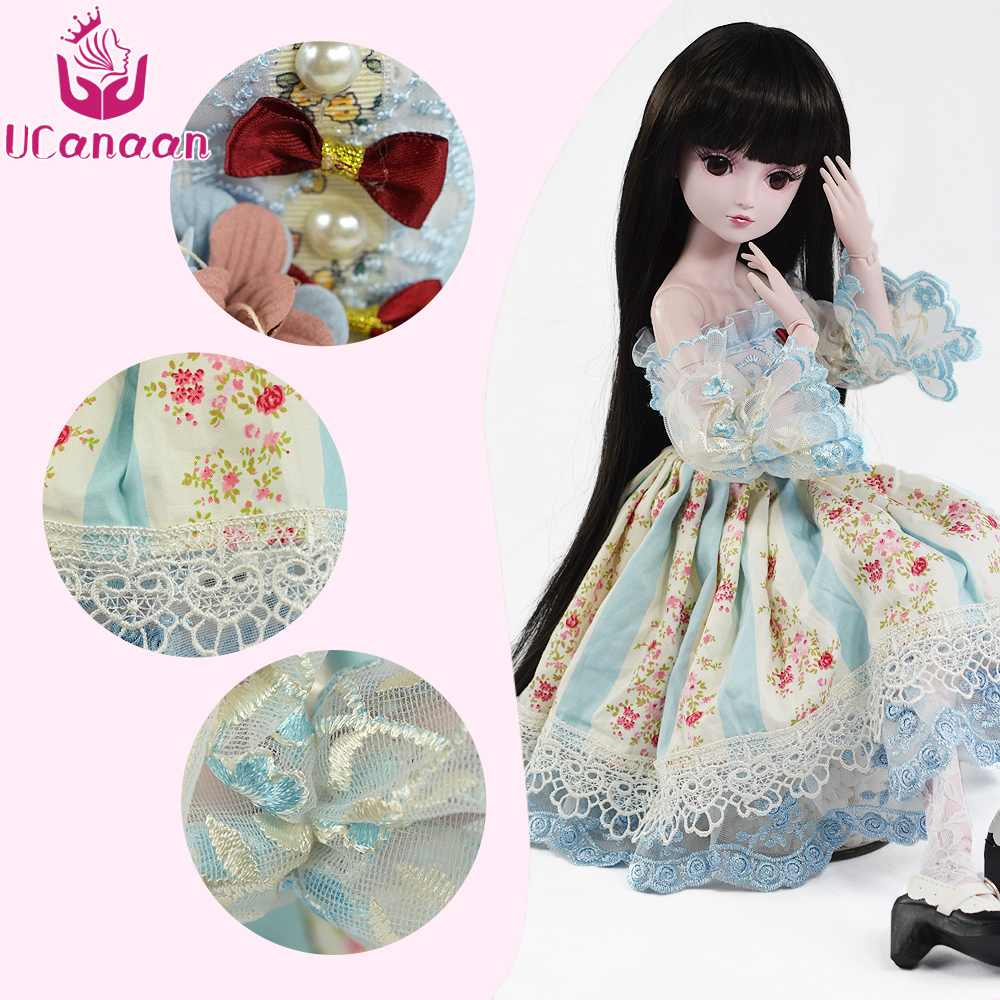 UCanaan 1/3 BJD Doll Accessories bjd Clothes Blue Bow Dress Chinese Style Clothes Set Cute Girls Mini Clothing For 60cm Dolls 1