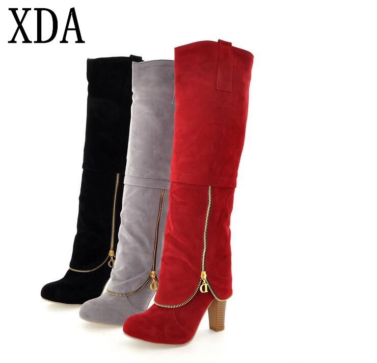 XDA Fashion Leisure Shoes Vintage Womens Suede Booties Winter Ladies Knee High Boots Block Heel Shoes High Heel long boots F762