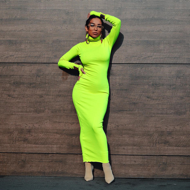Fluorescent Green Turtleneck Sexy Long Dress Women Long Sleeve Skinny Bodycon Bandage Winter Dress Fashion Pencil Dress