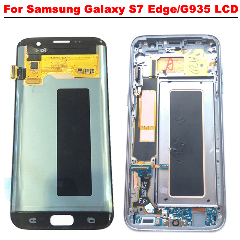 Super AMOLED 5.5 ''Écran lcd Pour SAMSUNG Galaxy S7 Bord G935 G935A G935F LCD Écran Tactile Digitizer Assemblée avec cadre