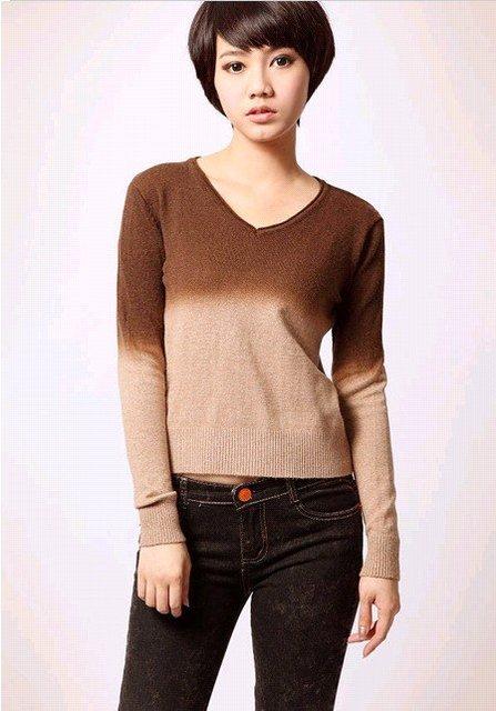 Free shipping fashion Women's sweater autumn and winter women's dress rabbit wool gradient V collar sweater