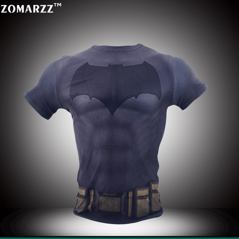 Halloween Batman Costumes Tight Bodybuilding Compression T Shirt Men Short Sleeve Clothing S 4XL