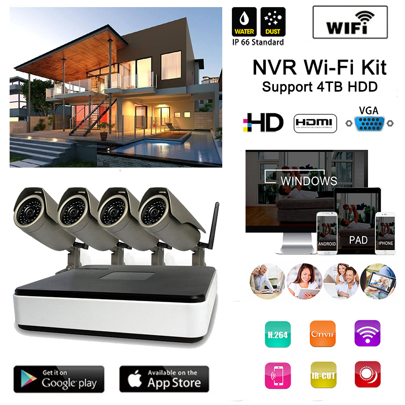 Homtrol 720P 4ch camera security wireless set wifi nvr kits good for small shop and office