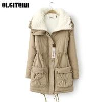 OLGITUM New 2018 Autumn and Winter Large Size Lamb Cashmere Pockets Cotton Coat Adjustable Waist Cotton Jacket