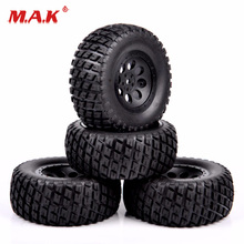 4Pcs/Set RC Short Course Truck Tires and Wheel Rims with 12mm Hex fit 1:10 Scale Truck Car Model Toys Accessories 4pcs set rc parts 12mm hex bead loc short course ruber tire rims for hpi hsp rc 1 10 traxxas slash