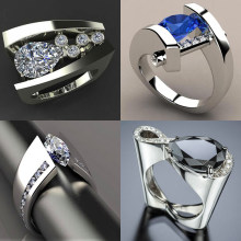 2019 New Blue Black Zircon Stone Ring Male Female Silver Color Wedding Band Jewelry Promise Engagement Rings For Men And Women(China)