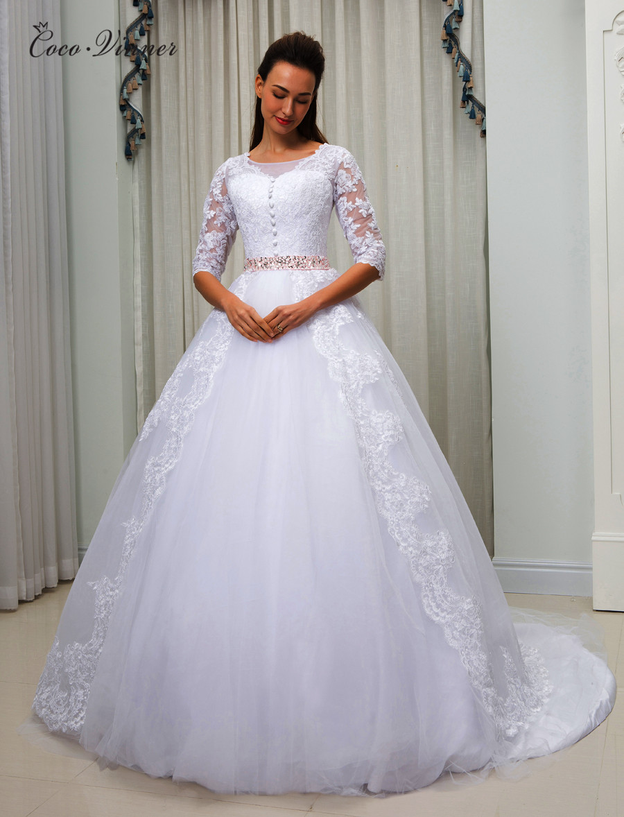 Sheer Neck Illusion Arab Plus Size Wedding Dress Beaded Belt Court Train Ball Gown Lace Vintage Wedding Dresses W0054