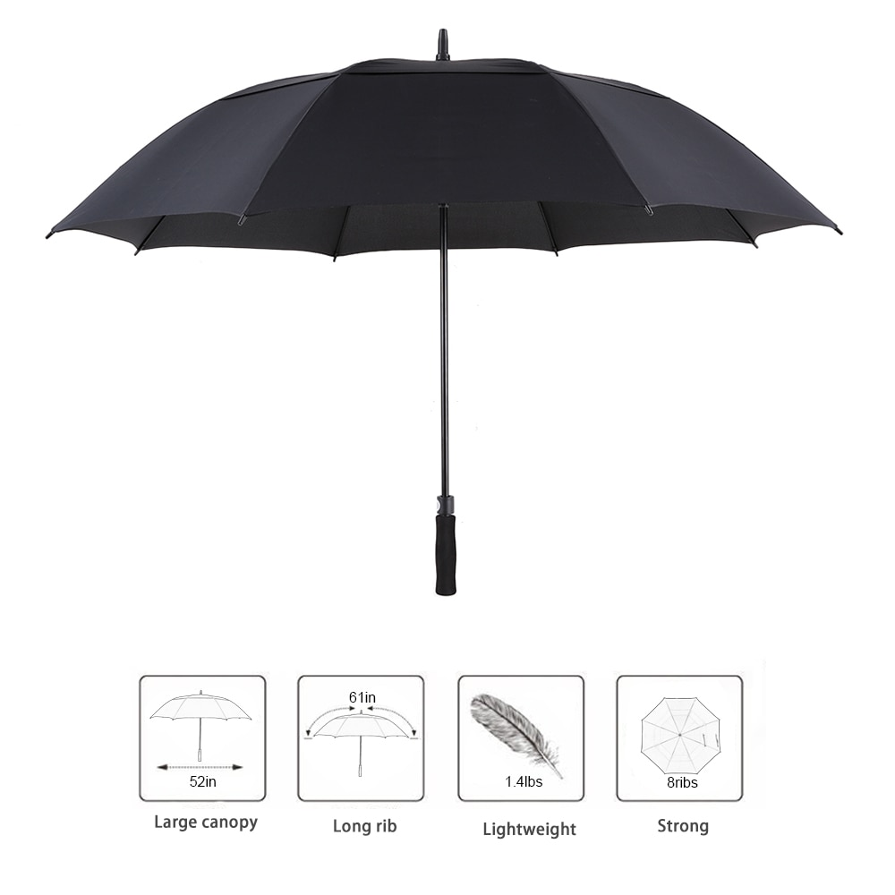 61 Inch Golf Umbrella Oversized Automatic Auto Open Outdoor Extra Large Double Canopy Ventilated Windproof Stick Umbrella