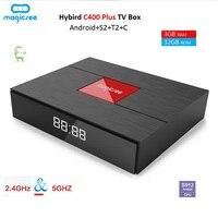 Magicsee C400 плюс Hybird DVB T2 DVB S2 + C ТВ Box Android 7.1.2 Amlogic S912 3g + 32 г 4 К Smart Декодер каналов кабельного телевидения 2.4g WiFi PVR Запись
