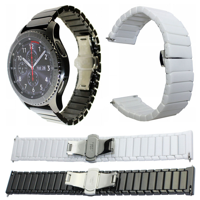 22mm 20mm Ceramic Watch Band For Samsung Galaxy Watch 42mm 46mm Strap Butterfly Buckle Replacement Bracelet Watchbands