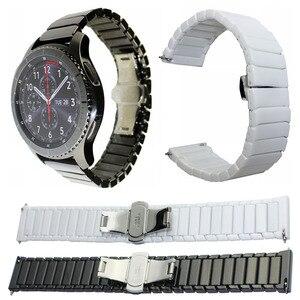 Image 1 - 22mm 20mm Ceramic Xem Nhạc Cho Samsung Galaxy Đồng Hồ 42mm 46mm Dây Đeo Bướm Khóa Thay Thế Vòng Đeo Tay strap watchbands
