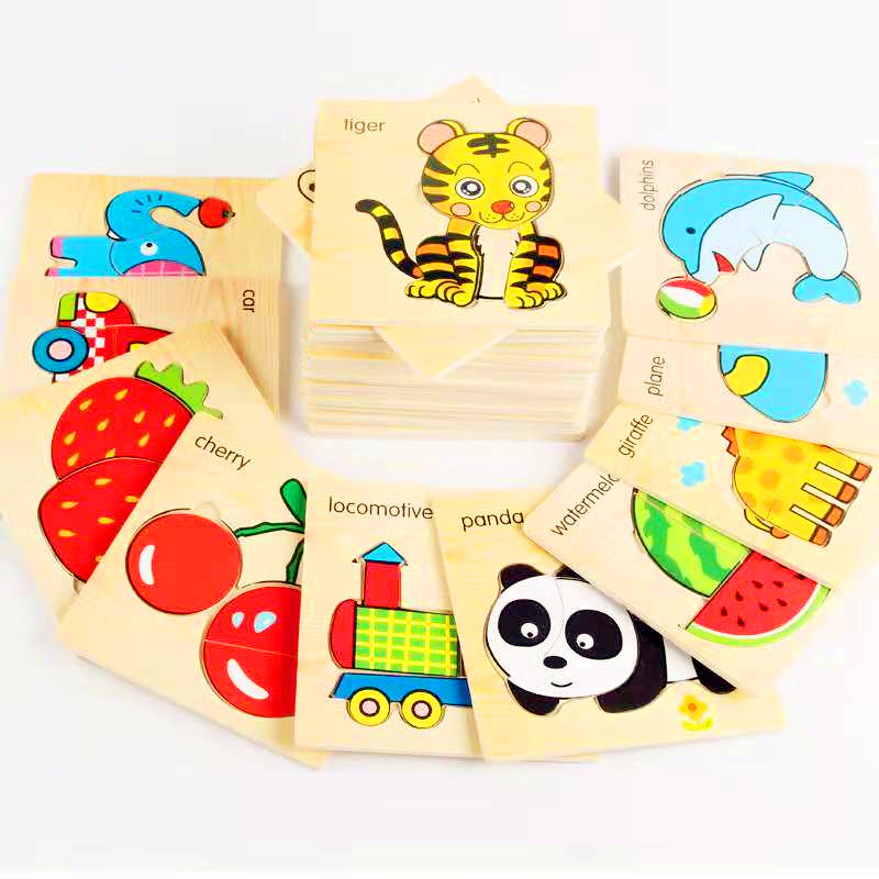 39Style 3D Wooden Puzzle Jigsaw Toys Wood 3d Cartoon Animal Puzzles Intelligence Kids Early Educational Toys for children Gift