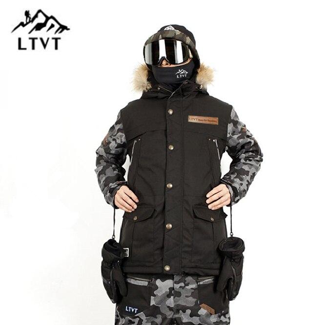 LTVT Hommes Femmes Ski Veste Placage Double Snowboard Vêtements Étanche Mince Matelassé Version Coréenne Nouveau Style Hommes Ski Vestes