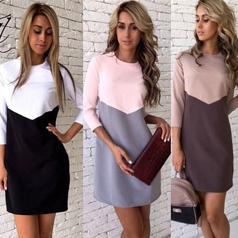 Women's Long Sleeve Dress Temperamental Contrast Color Dress Patchwork Maternity Dress Clothes for Pregnant Photo Props
