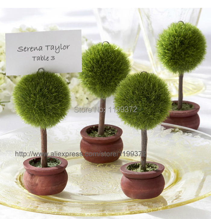 Free Shipping 200pcs Wedding Favors Green Potted Plants Place Card Holder For Theme Topiary Tree Decoration In Party From Home