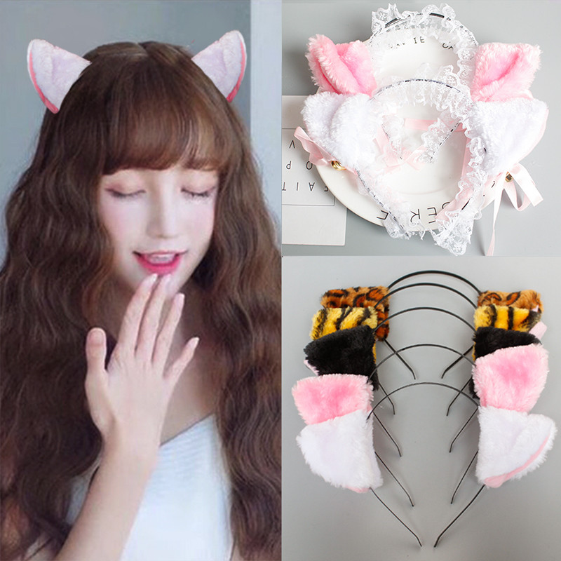 2018 Plush Animal Cat Leopard Tiger Ears Headband Hair Clips For Women Girls Maid Anime Cosplay Hair Accessories Party Decor