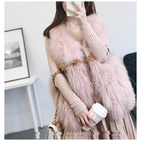CHEWIES Winter Spring Natural Real Fox Mongolia Lamb Sheep Fur Vest Women Female Waistcoat Pocket New Arrival Factory Outlet