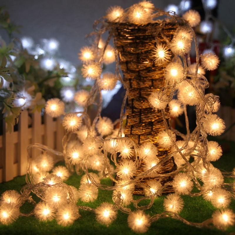 Battery LED String Snowball Pompon Lovers Day Light Wedding Parties Decoration String Lights Holiday Decor  2.5M 20LED /4M 40LE