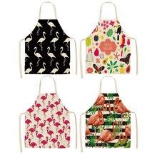 1Pcs Flamingo Blatt Muster Baumwolle Leinen Schürzen Hause Kochen Backen Kaffee Shop Reinigung Schürzen Küche Zubehör 53*65cm A1010