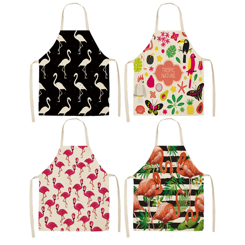 1Pcs Flamingo Leaf Pattern Cotton Linen Aprons Home Cooking Baking Coffee Shop Cleaning Aprons Kitchen Accessories 53*65cm A1010-in Aprons from Home & Garden