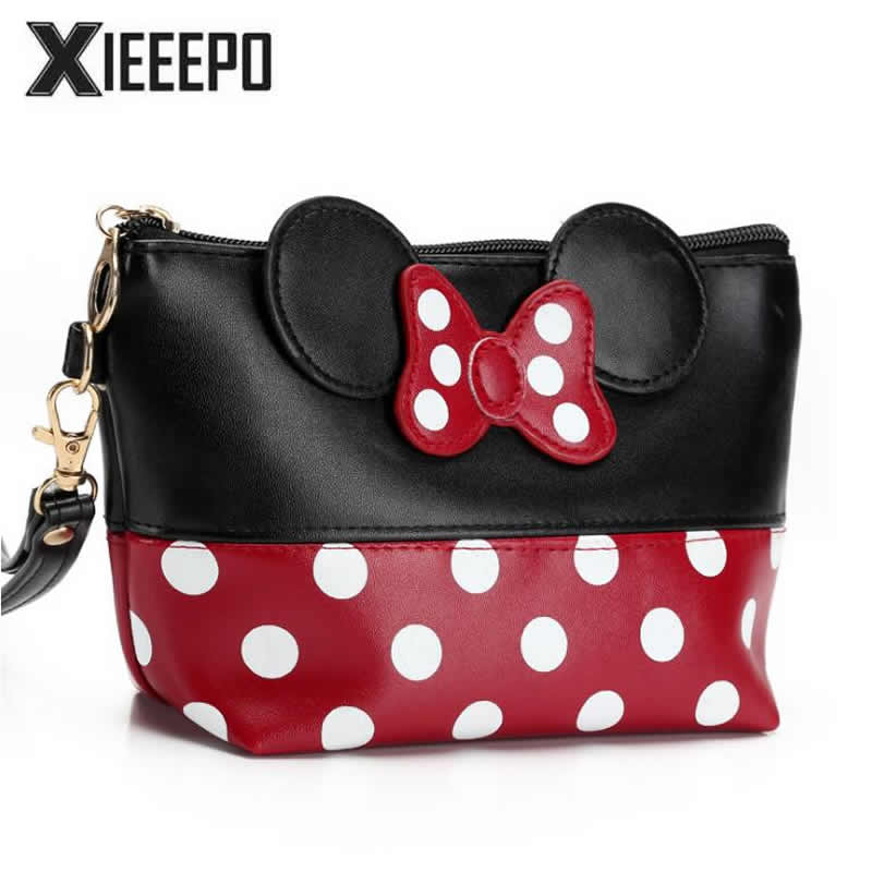 Women Travel Cosmetic Bag Cartoon Bow Hand Holding Makeup Case Zipper Make Up Handbag Organizer Storage Pouch Toiletry Bags