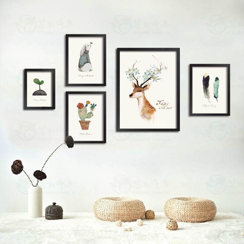 Triptych Nordic Modern Watercolor Canvas Painting Minimalist Art HD Print Poster Deer Head Wall Stickers Obývací pokoj Domácí výzdoba