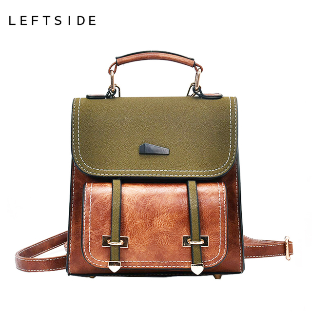 LEFTSIDE Cute Small Leather Travel Backpack Purse Retro Style ...