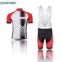 XINTOWN Team Mens Sports Cycling Bike Short Sleeve Jersey Bib Short Set Bicycle Sportswear Clothing Suit