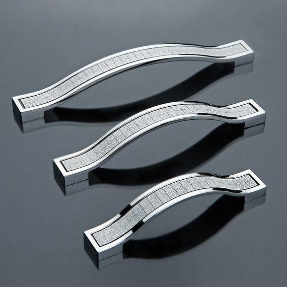 Commode tiroir tire boutons armoires de cuisine poignées tire Bling matériel argent brillant Modern96mm 128mm 160mm