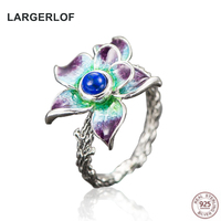 LARGERLOF Real 925 Sterling Silver Rings For Women Fashion Jewelry Turquoise Vintage Rings