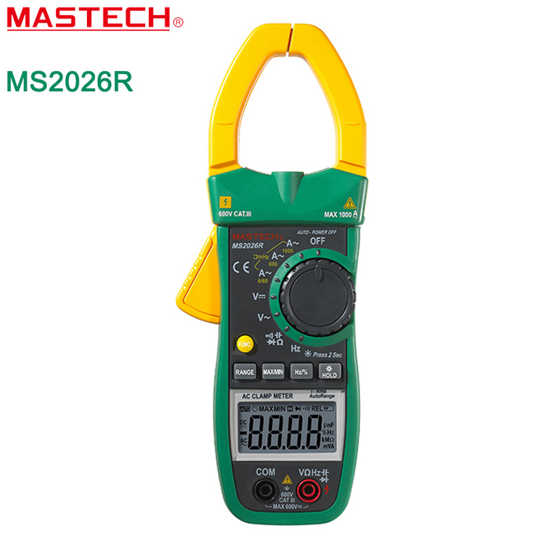 MASTECH MS2026R Auto&Manual Range 6000 Counts Digital Clamp Multimeter AC/DC Tester True RMS temperature measurement ADP mastech ms8260f 4000 counts auto range megohmmeter dmm frequency capacitor w ncv