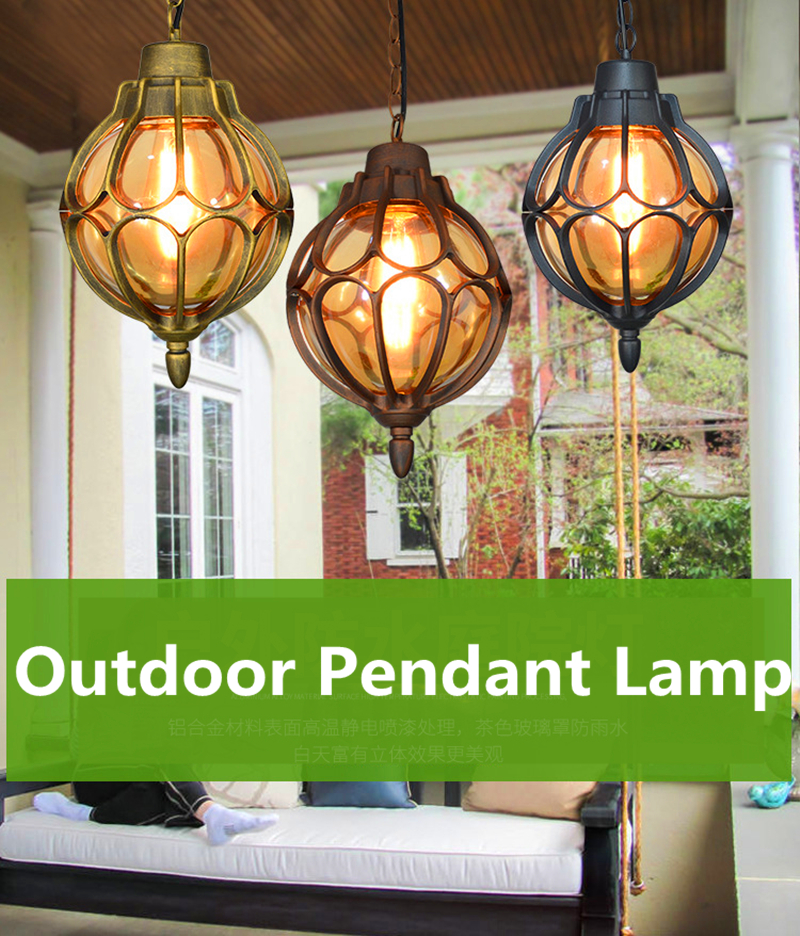 Vintage Glass Chandeliers Ball Outdoor Pendant Lamp Balcony Grape Waterproof Aluminum E27 Bulb Garden Hanging Lamp Loft ZDD0016